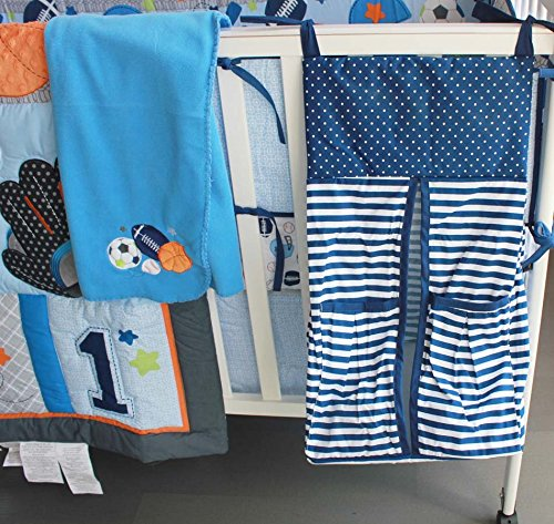 NAUGHTYBOSS Baby Bedding Set Cotton 3D Embroidery Ball Sport Quilt Bumper Bedskirt Mattress Cover Diaper Bag Window Curtain Blanket 10 Pieces Set Blue by NAUGHTYBOSS (Image #8)