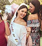 """Bachelorette Party Decorations - Large 60 Piece Kit of Bridal Shower Supplies - Includes """"Bride to Be"""" Banner, Veil, Sash; 10 Bride Balloons, 18 Gold Foil Tattoos; 28 Photo Booth Props"""