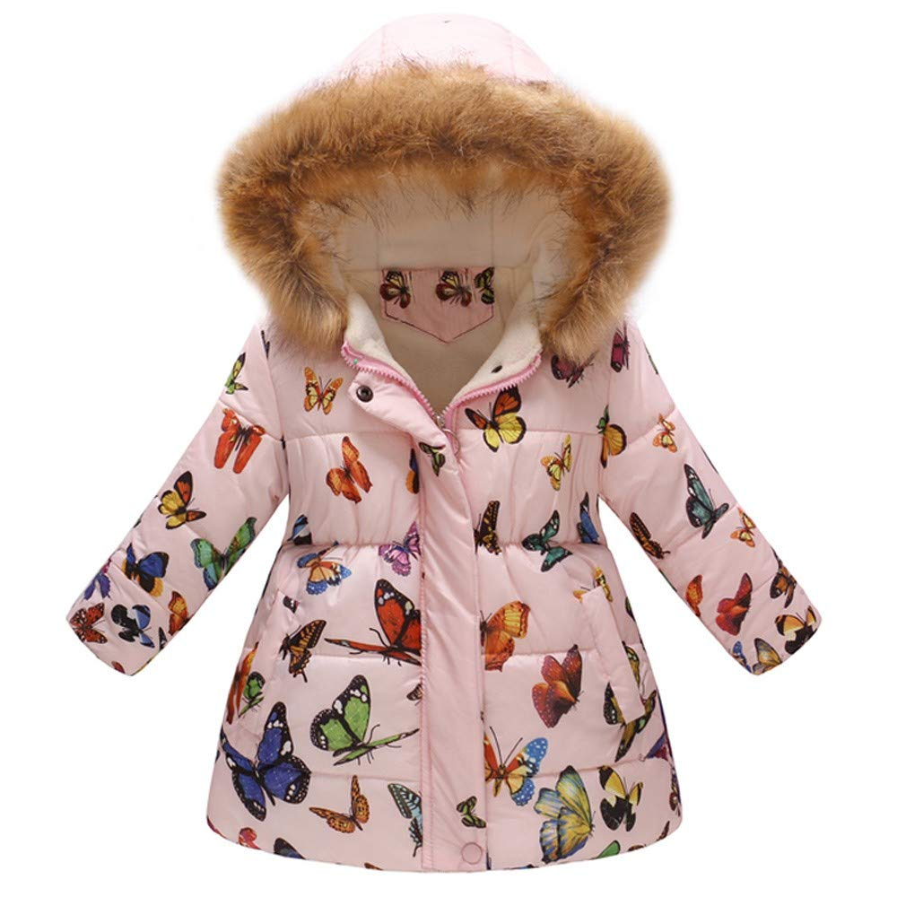 LIKESIDE Baby Girls Boys Winter Floral Thick Warm Jackets Hooded Windproof Coats