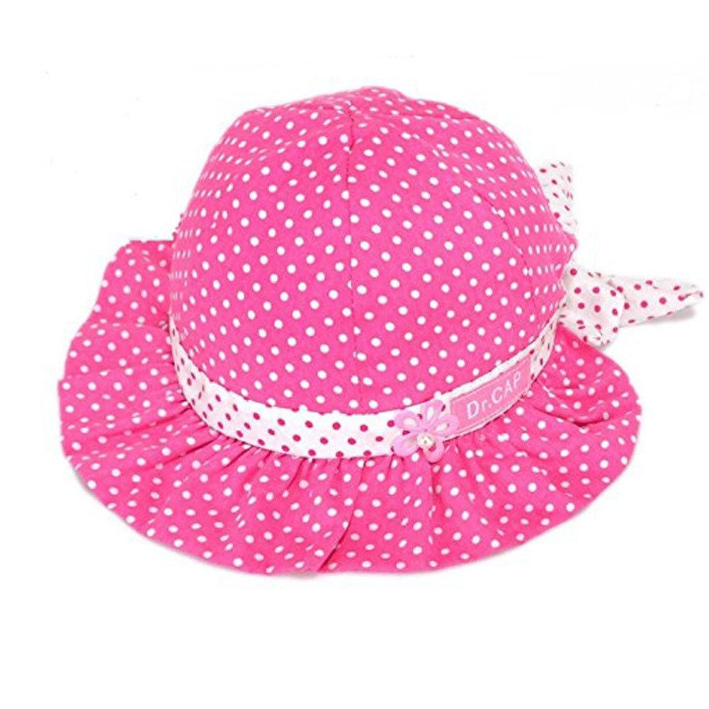 PULABO新生児赤ちゃん女の子かわいいドット柄フラワーバケットSun Hat幼児プリンセスキャップ  ローズ B012HV42QW