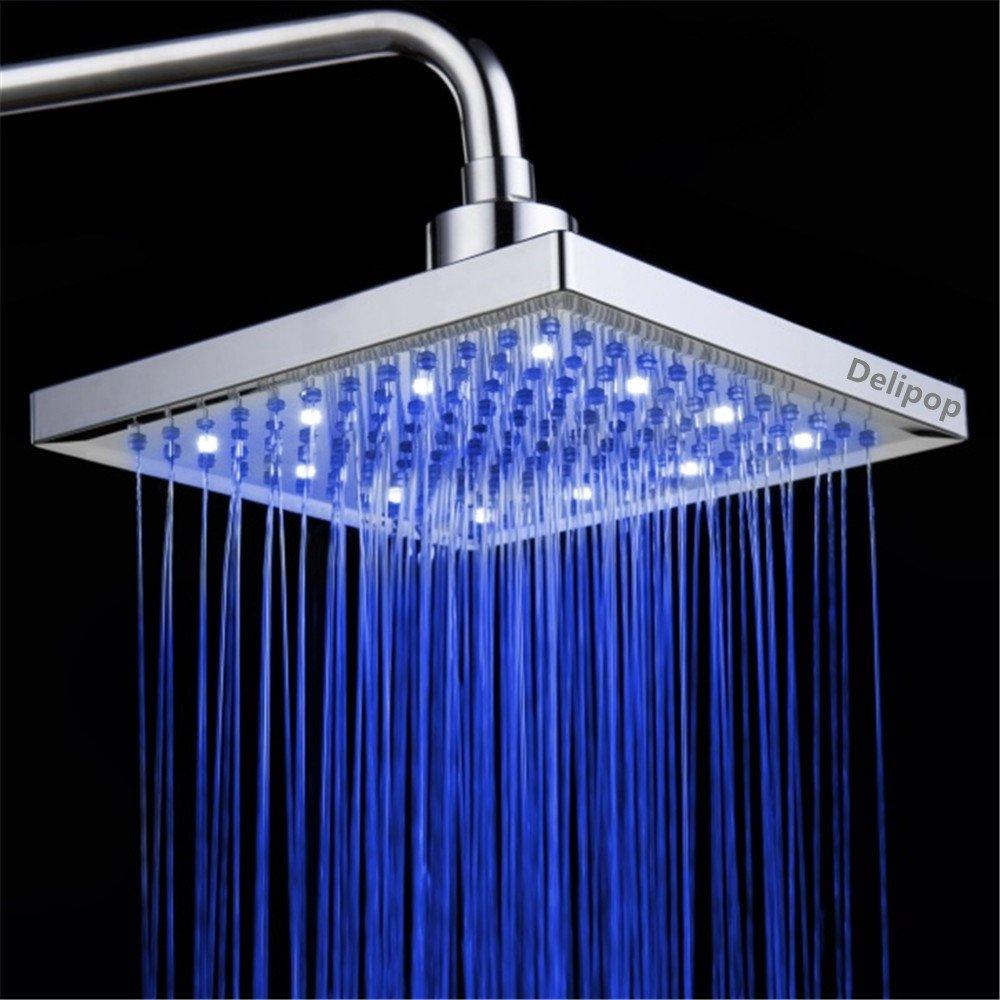 DELIPOP HN-11 LED Shower Head Temperature 3 Color Changing 8 inch ...