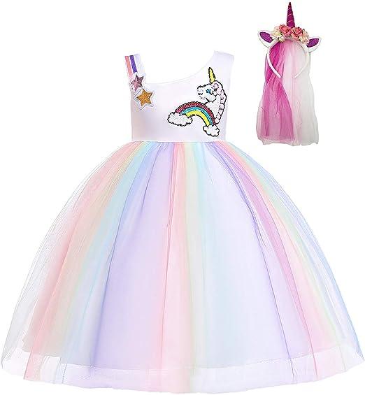 DIXIUZA Disfraz Unicornio Niña, Fiesta de Cosplay, Boda, Partido ...
