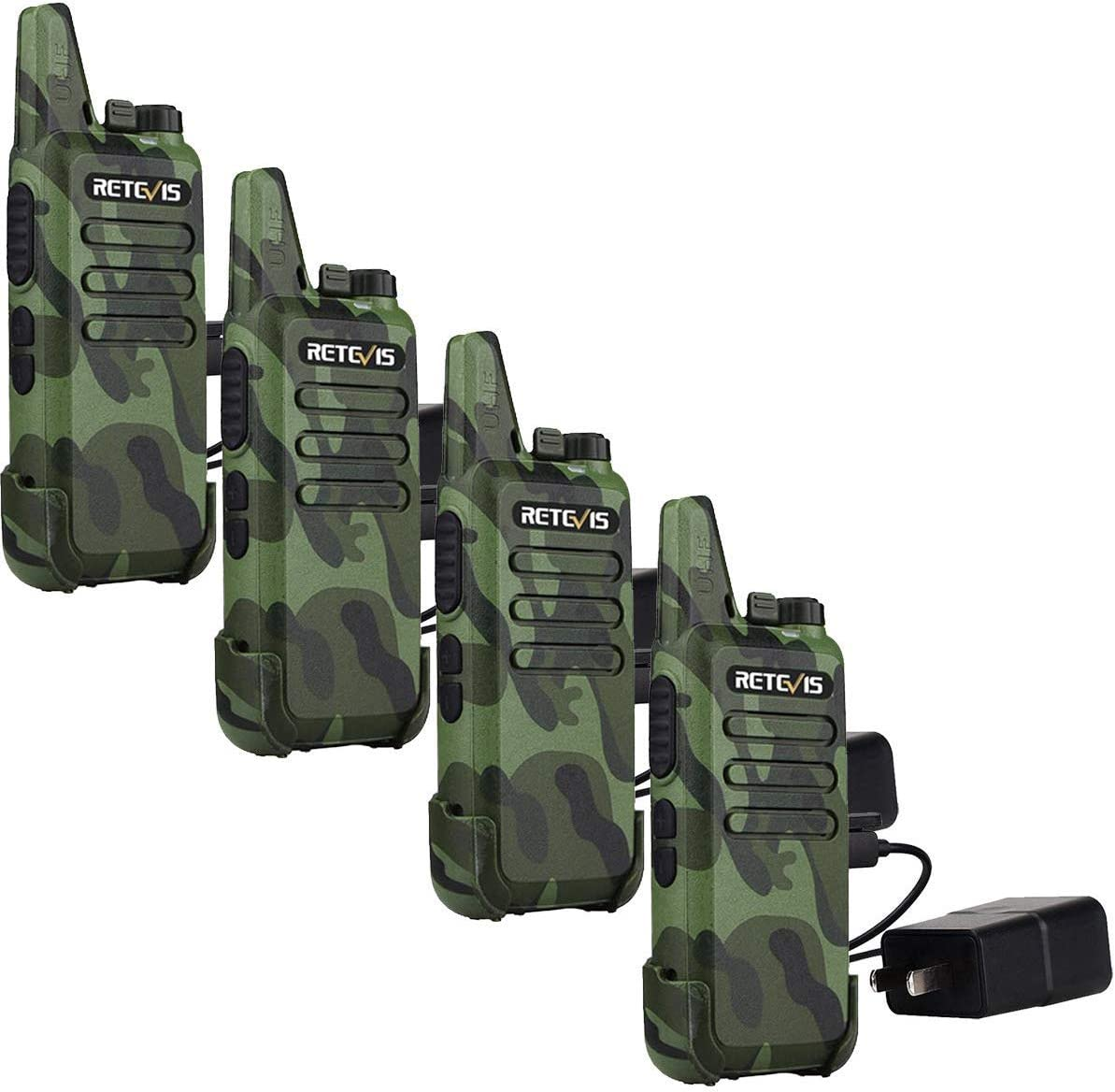 Retevis RT22 Walkie Talkies Rechargeable Voice Activated Scan Emergency Alarm Outdoor Cruise Ship Walkie Talkies Two Way Radio 4 Pack