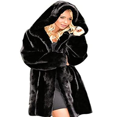 Womens Black Winter Warm Outerwear Ladies Parka Faux Fur Hooded ...