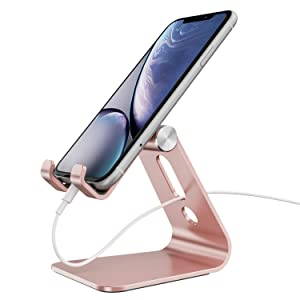 Cellphone Stand, OMOTON Adjustable Aluminum Desktop Tablet Stand Holder Cradle Dock Compatible with iPhone 11 Pro Xs Xs Max Xr X 8 7 6 6s Plus 5 5s 5c and All Other Smartphone, Rose Gold