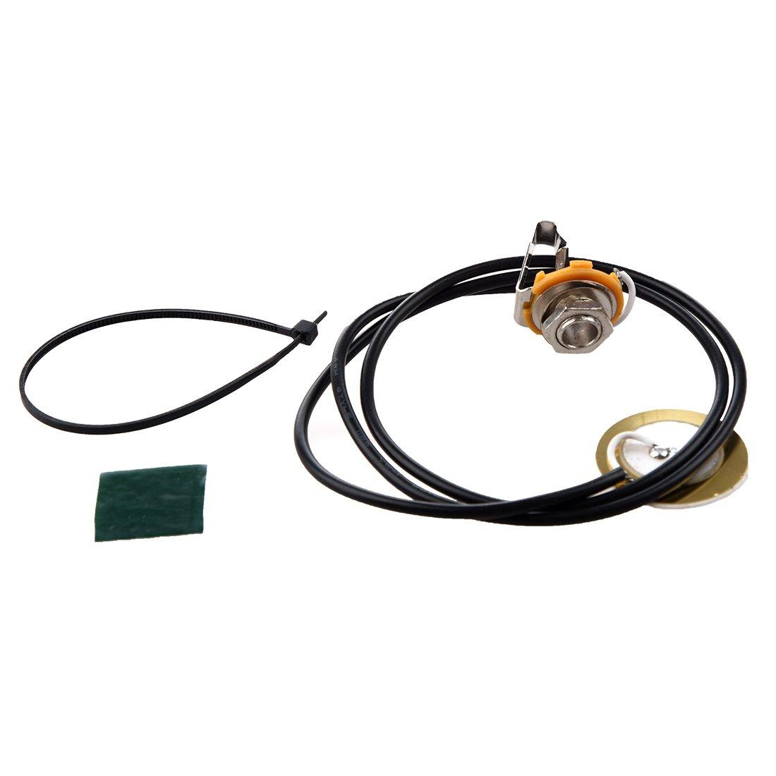 TOOGOO(R) Guitar Parts Acoustic Pickup Pre-Wired Piezo Amplifier Jack