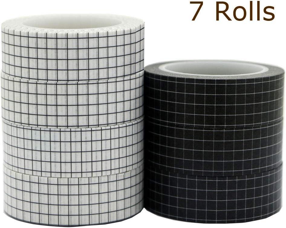Cinta washi cuadriculadas fondo blanco negro 7 rollos