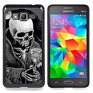 /Skull Market/ - Death Reaper Grim Black White Rose For Samsung Galaxy Grand Prime G530H G5308 - Mano cubierta de la caja pintada de encargo de lujo -