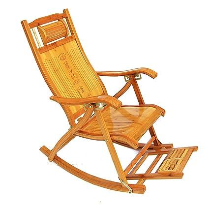 QFFL Mecedora de bambú del hogar Mecedora Plegable Silla de ...