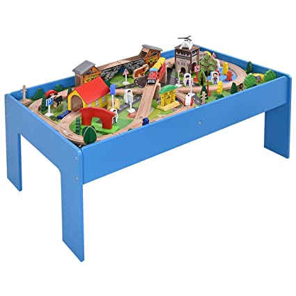 Amazon.com: Costzon Train Set and Table, 108 Pieces Wood Toy Track ...