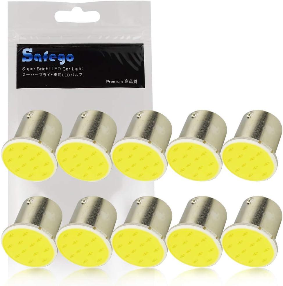 Safego 10x 1156 LED COB 1.5W Bombilla de Luz de Coche BA15S P21W 12-cob Luz de La Cola Blanca 6000K 12V