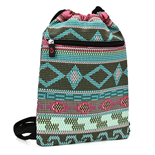 Minty Gray Tribal Aztec Universal Tablet Sleeve Drawstring Backpack Fits LG G Pad X 8.0, G Pad 7.0, G Pad X 8.3 LTE Tablet