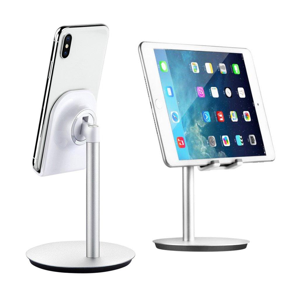 ARINO Support Téléphone Portable Tablette Support Portable iPhone Samsung Support pour tablettes, liseuses et téléphones Portables, Table Support en Aluminium Argent