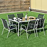 Giantex 7 Piece Patio Dining Set Outdoor Lawn Garden Living Furniture Metal Frame Tempered Glasstop Cool Textilene Fabric Chairs Bistro Patio Dining Table Sets, Black