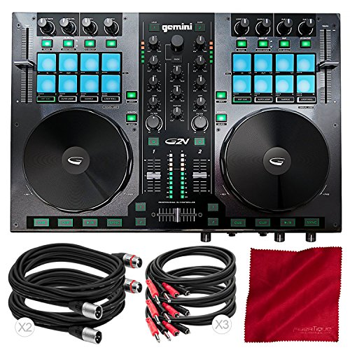 (Gemini G2V Virtual DJ Controller and Mixer with Cables and Fibertique Cloth)