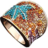 Claire Jin Big Starfish Rings for Women 18K Gold Plated Fully Inlaid Rhinestone Jewelry (9)
