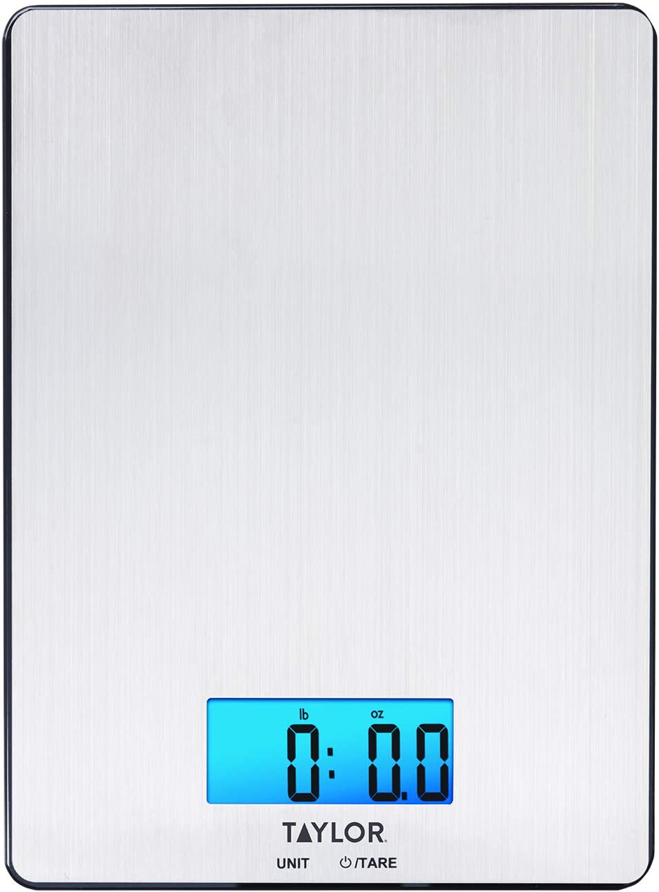 Taylor Precision Products 11lb Stainless Steel Digital Kitchen Scale, Ultra-Thin, Silver