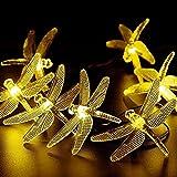 Peaubogo 30 LED Dragonfly Solar String Lights Waterproof Fairy Lighting Outdoor Garden Landscape Decoration (Warm White)