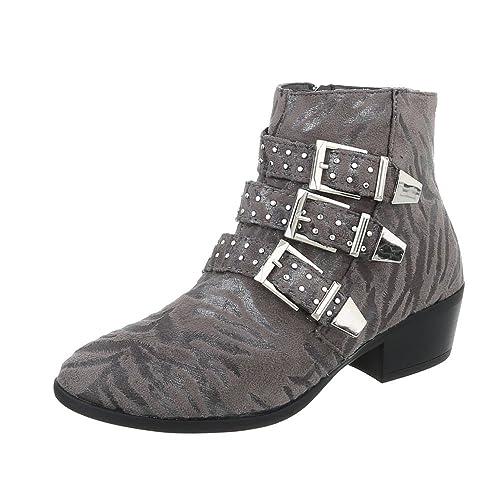 Zapatos para mujer Botas Tacón de vaquero Botines camperos Gris Tamaño 41: Amazon.es: Zapatos y complementos