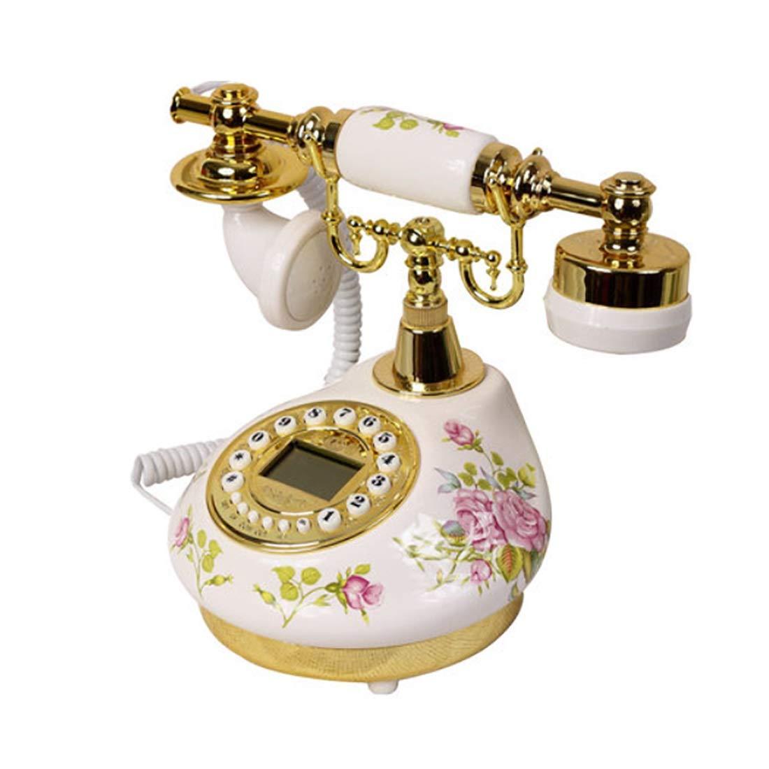 Fashion Home ZHILIAN Retro European Style Rustic Telephone Landline Golden Family Living Room Decoration Telephone Wired Telephone