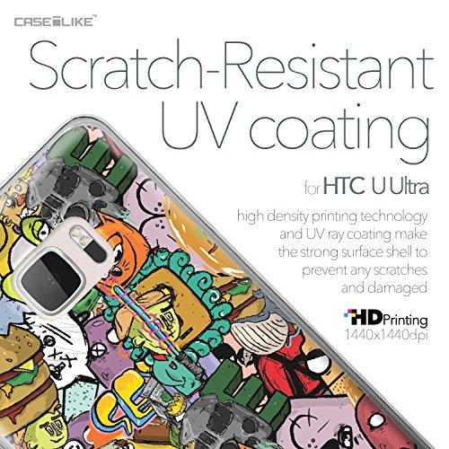 CASEiLIKE Funda HTC U Ultra , Carcasa HTC U Ultra, Flores florecientes turquesa 2249, TPU Gel silicone protectora cover Graffiti 2731