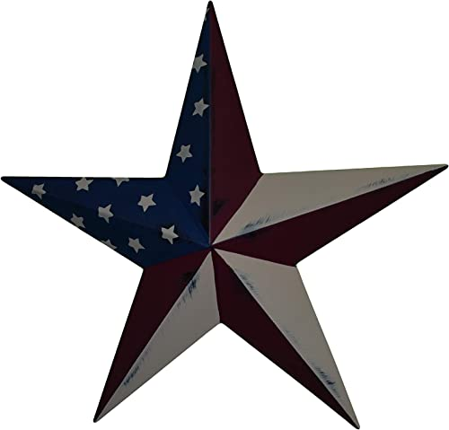 AMISH WARES 53 Inch Heavy Duty Metal Barn Star Painted Rustic Olde Glory Galvanized Metal Tin Painted Barn Star Farmhouse Country Decor Rust Resistant Outdoor Decor