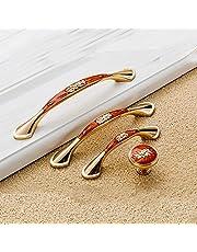 Angela-homestyleTM handgrepen & stangen vintage antiek beslag ladegreep meubelgreep kastgreep sierdelen met schroeven (128mm, barnsteen rood)