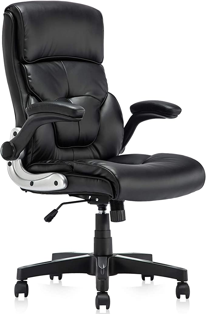 Amazon.com: YAMASORO Ergonomic Office Chair Black Leather Computer Desk Chair High-Back Comfort Gaming Chair with Flip-Up Arms: Furniture & Decor