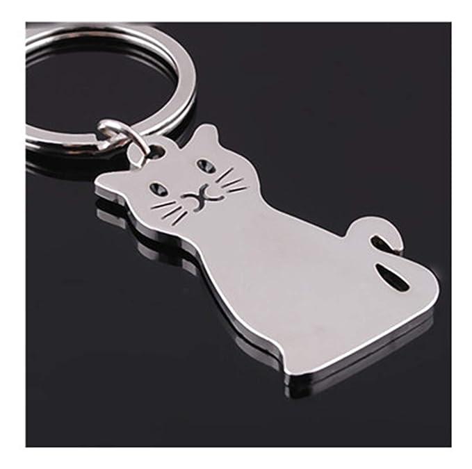 Amazon.com: 1 llavero de metal con forma de gato, llavero ...