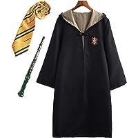 Monissy Enfants Adultes Déguisement Harry Potter Hermione Gryffondor Granger Uniforme Outfit Set Baguette Cravate Écharpe Lunettes Halloween Noël Anniversaire Fête Costume Cosplay S-2XL 115-155cm