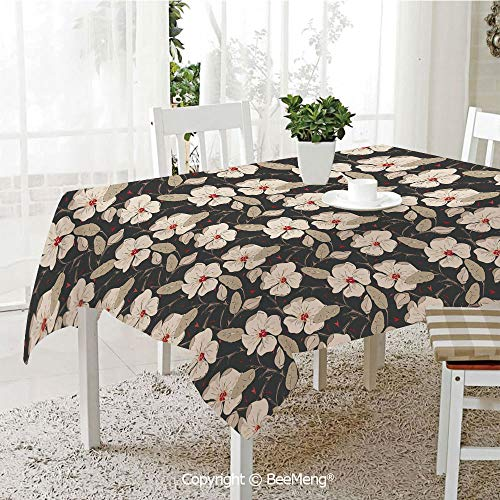 BeeMeng Large Family Picnic Tablecloth,Easy to Carry Outdoors,Floral,Poppy Flowers Vintage with Abstract Floral Arrangement Nature Blossom Decorative,Tan Charcoal Grey Red,59 x 104 inches