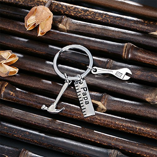 Father Gift Papa Ruler Wrench Hammer Key Chain Ring Tool Charms Pendant My Dad Can Fix Anything for Men Photo #5