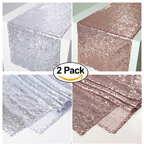 Zdada 2 Pcs,One Silver New Year's Day Party Table Runner,One Rose Gold Sequin Candy Table Runner-12 x 96
