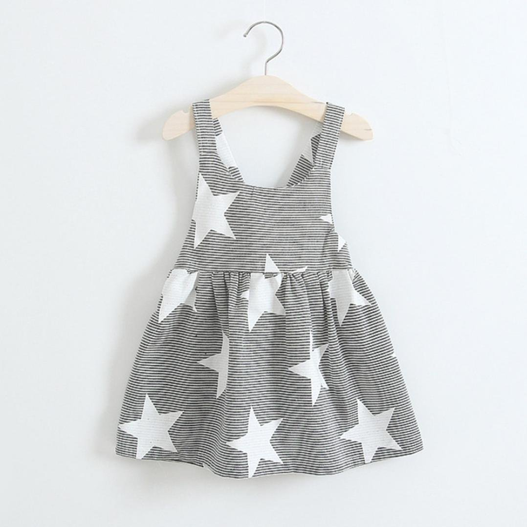 Jarsh Toddler Baby Girls Summer Clothes Cute Star Stripe Print Sleeveless Dress