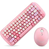 KBD Mini Wireless Keyboard Mouse Set Round Keycap Multi-Colour Cute Lovely for Girls (Multicolor Pink)