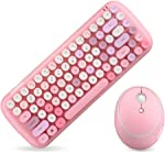 KBD Mini Wireless Keyboard Mouse Set Round Keycap Multi-Colour Cute Lovely