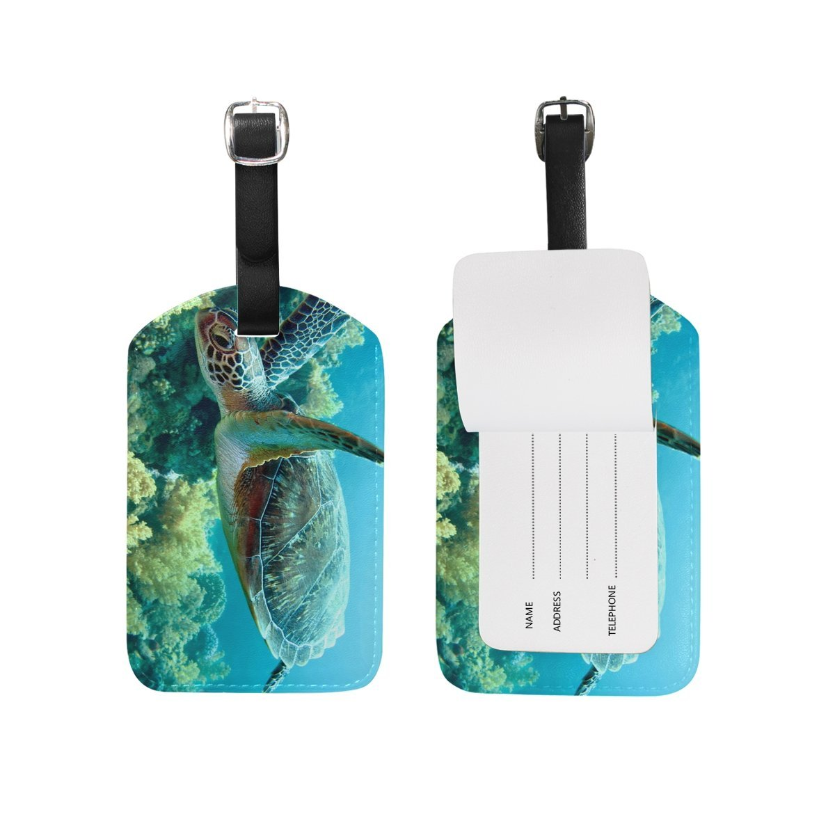 Sea Turtle Travel Leather Luggage Baggage Suitcases Tags Label Set of 2