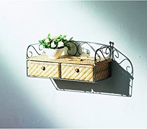 Neu Home Wicker Two-Drawer Shelf Unit, Neutral