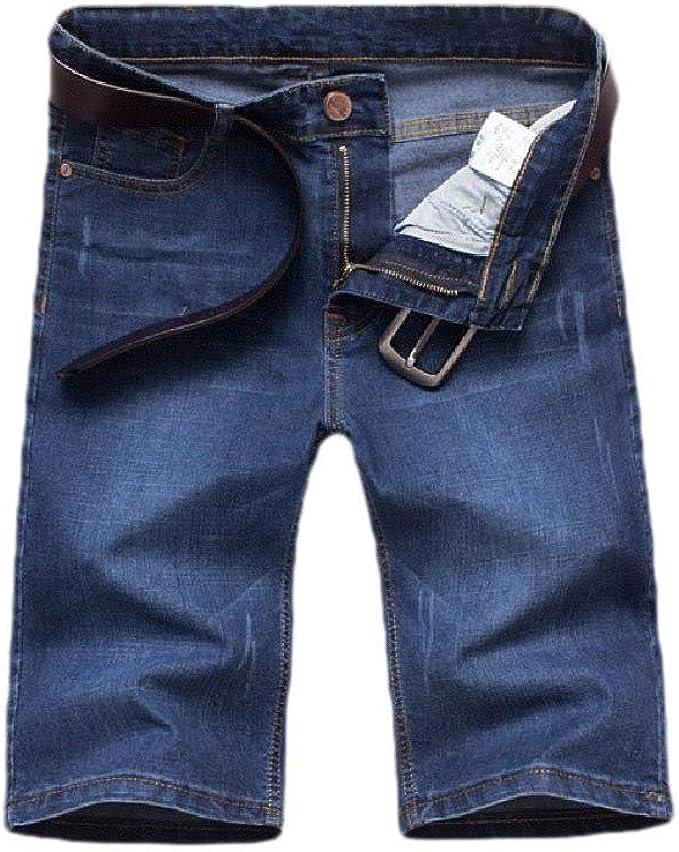 Beeatree メンズストレッチハイウエストソリッドカラーポケット薄いルーズデニムショートパンツ