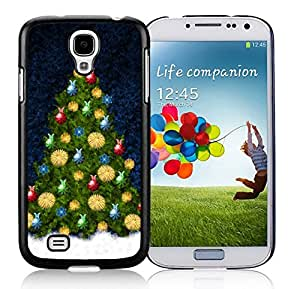 Samsung S4 Case,Colorful Decorated Christmas Tree Black Silicone Phone Case Fit Samsung Galaxy S4 Case,Galaxy S4 I