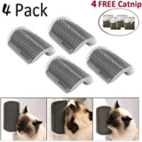 4 Packs Cat Corner Self Groomer Brush,Cat Groomer, Cat Wall Corner Massage Comb to Control Shedding Fur and Itching
