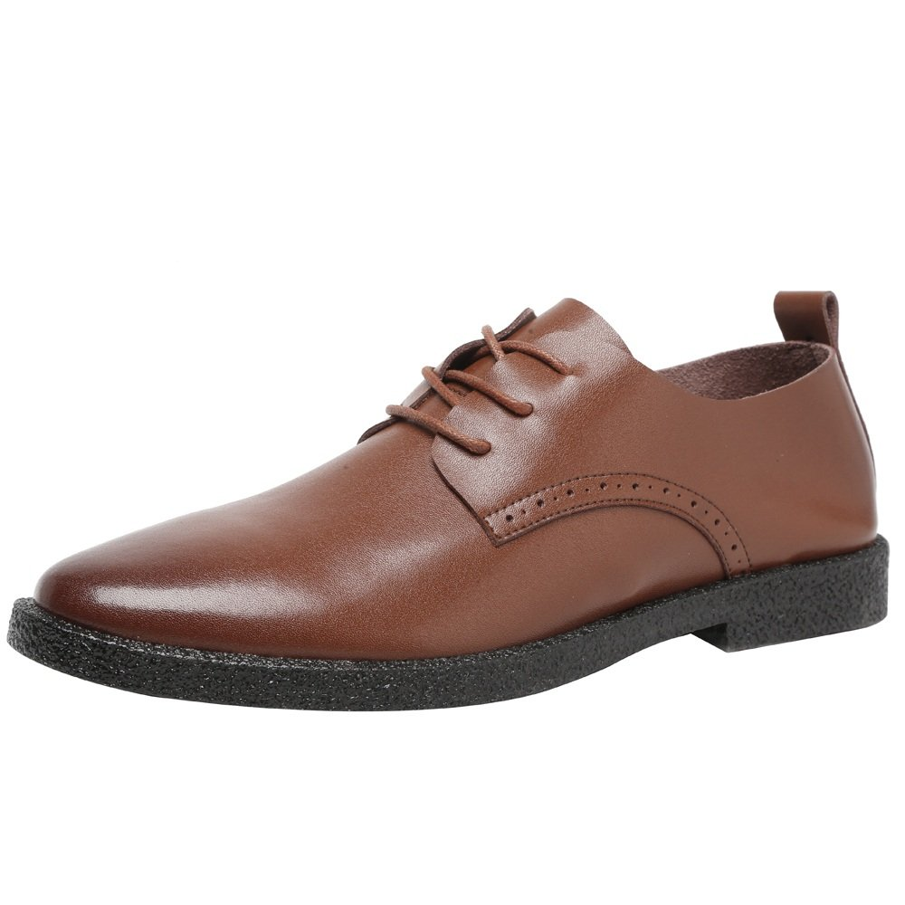 Ruiyue Herren Freizeitschuhe Matt Echtem Leder Slipper Lace up Breathable Spitz Toe Oxfords  40 EU|Brown