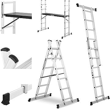 MSW Escalera Andamio De Aluminio MSW-AB150 (Multifunción Con Superficie De Trabajo, Plataforma De 147,5 x 40,5 cm Con Altura Variable, Carga Máxima: 150kg): Amazon.es: Bricolaje y herramientas