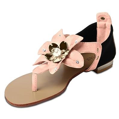 CASPAR Damen Sandalen Sandaletten Zehentrenner mit funkelnder Blume und Strass Steinen - viele Farben - SSA002, Farbe:weiss;Größe:39