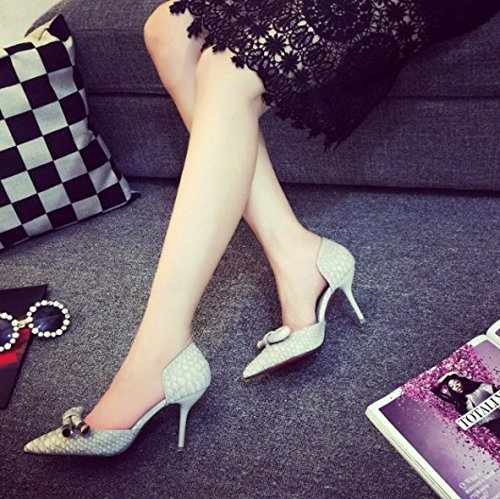 Leisure High Lady Single Heel Bow Spring Shoes 7Cm Work Heels Tie Hollow Gray Mouth Women'S 38 Sharp Fine Elegant Shallow Shoes MDRW Sandals afdtwAf