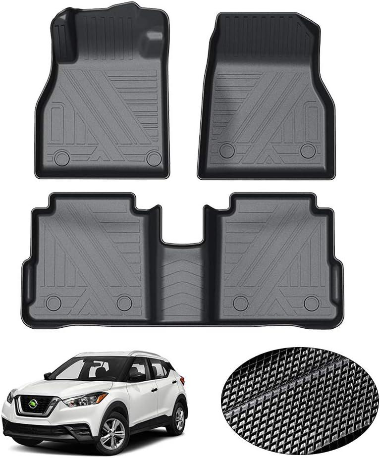 KUST All Weather Floor Mats for Nissan Kicks 2018-2021 Non-Slip Custom Fit Floor Liner for 2020 Kicks 1st /& 2nd Row Liners Odorless