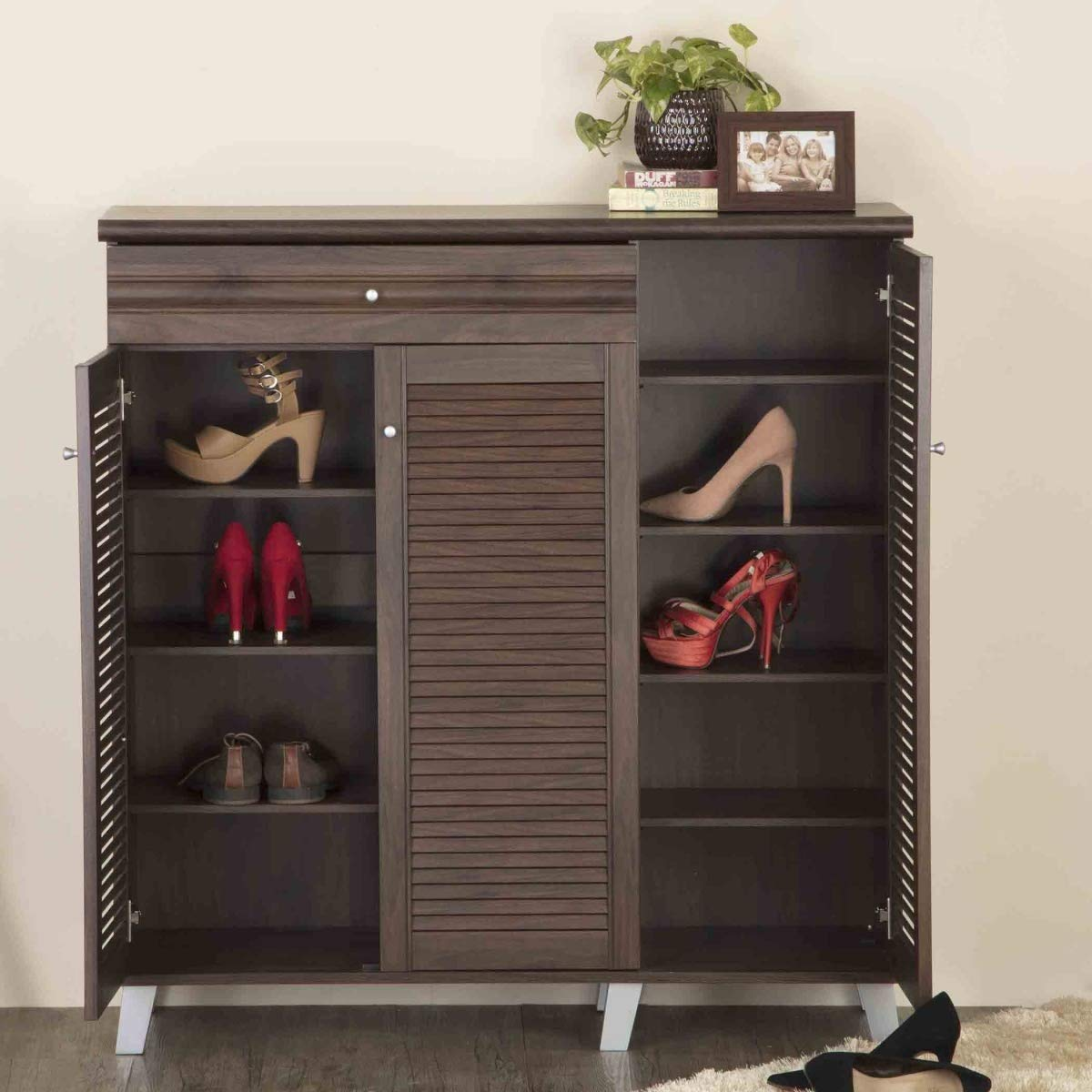 Home Centre Lewis Three Door Shoe Cabinet with One Drawer- 26 Shoes