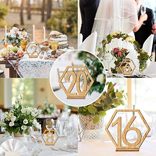 Rely2016 Wooden Table Number, 1-20 Wedding Wood Table Numbers Hexagon Geometric Reception Stands Décor for Wedding Banquet Birthday Party Events (1-20) by Rely2016 (Image #5)
