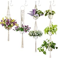 4 Pack Macrame Plant Hanger w/ 4 Hooks, Various Tiers, Cotton Woven Hanging Planter Basket Flower Pot Holder for Indoor…