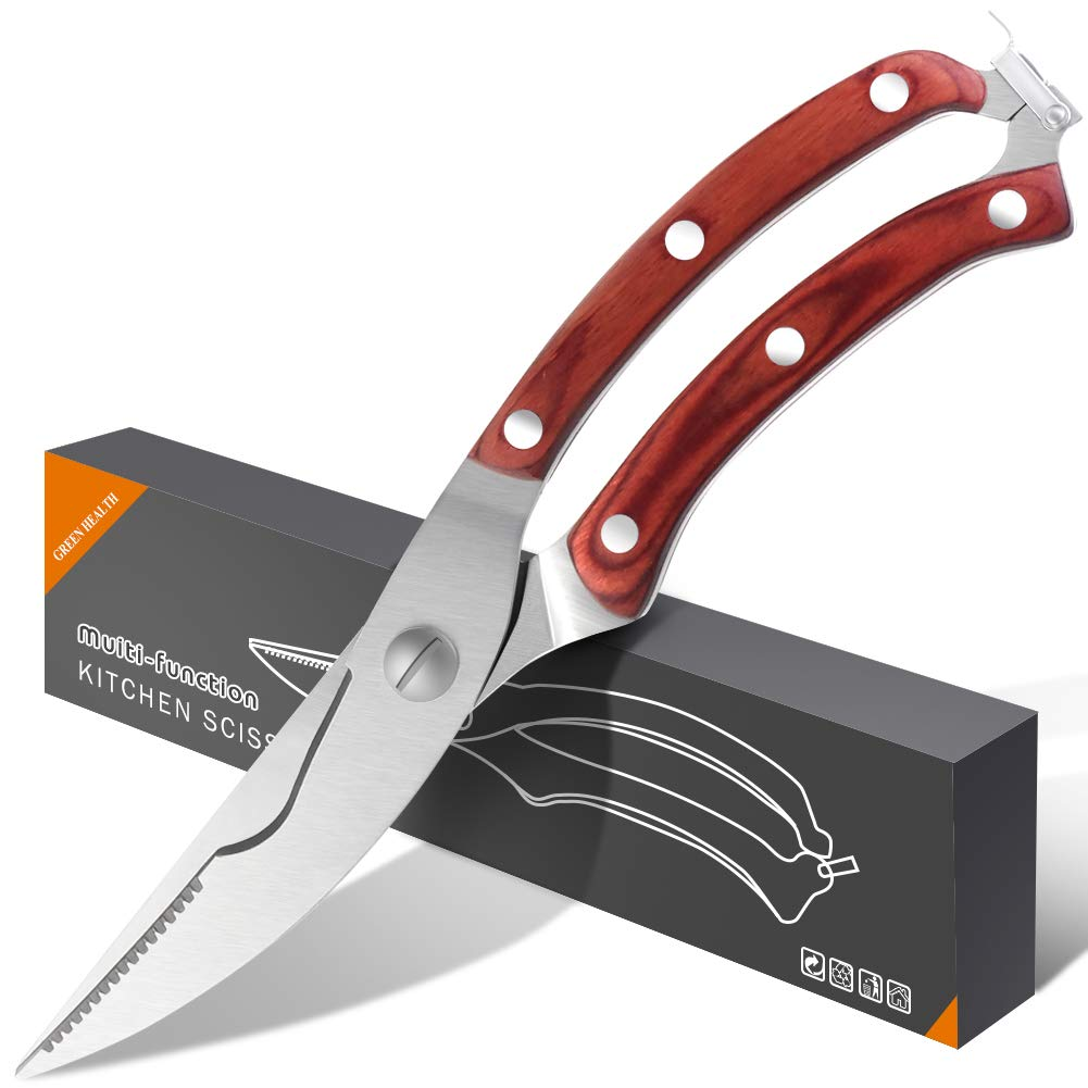Chefs Grade Sharp Poultry Scissors (Cut Any Bone and Meat), Heavy Duty Stainless Steel Kitchen Scissors Made With Professional Blade and Spring Loaded Wood Handle, Food Scissors Perfect For BBQ Chicke by Swonuk (Image #1)